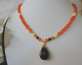 orange necklace, gold bead necklaces, gold gemstone necklaces, dangle necklaces, Carnelian necklace, necklaces for women, summer jewelry