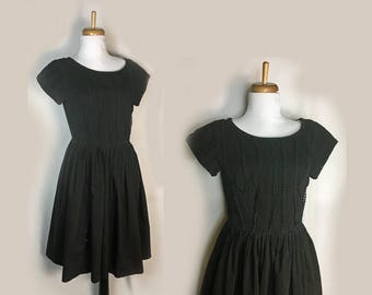 Vintage Dress, 1950's, Black Cotton, Tucked Lace Bodice, Full Skirt, Betty Barclay, Small