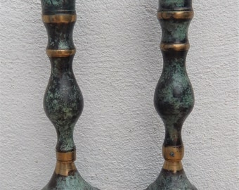 Vintage Brass Candlesticks European Oxidized Green Patina Pair of Candlesticks