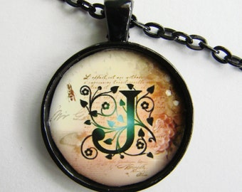 """Initial """"J"""" Necklace -- Green Vine pattern Personalized Letter J Necklace, Wedding Necklace, for Bridesmaid, Hen Night, Friendship token"""