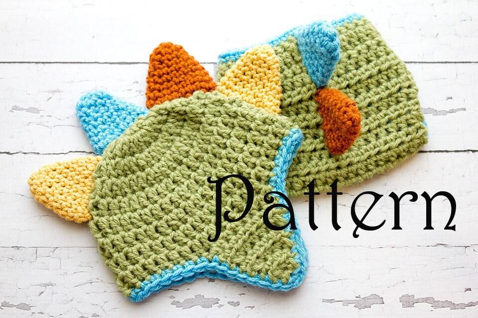 Crochet Pattern Newborn Dinosaur Hat And Diaper Cover Photo