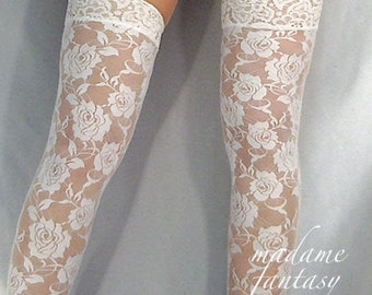 White lace top stockings