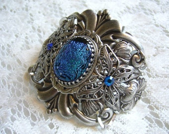 Tropical Blue Sparkle Dichroic Victorian Bracelet Free Shipping in USA