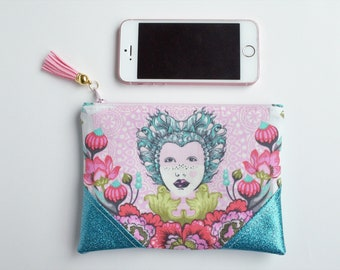 Pink Turquoise Queen Elizabeth Glitter Mini Zip Pouch, Coin Pouch, Coin Purse, Card Holder, Gifts for Her, Gifts for Teens,  Grey, Wristlet