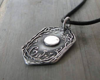 Forest Moon No. 2, Personalized Fine Silver Pendant, Handmade in Recycled Silver From Artisan Original Carving, by SilverWishes