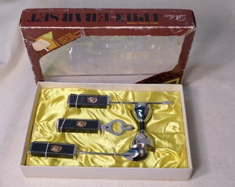 Mid Century Mixology Set Black Leatherette and Chrome Bar Tools with Brass Trojan Emblem Spoon Pick Double Jigger Bottle Opener