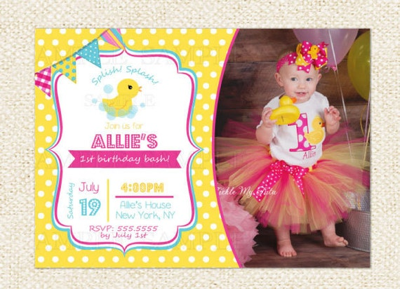 Rubber duck birthday invitations filmwisefo Image collections