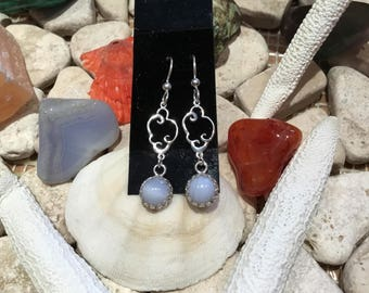 Sterling Silver .925 Blue Lace Agate (8mm) Cabochon Earrings