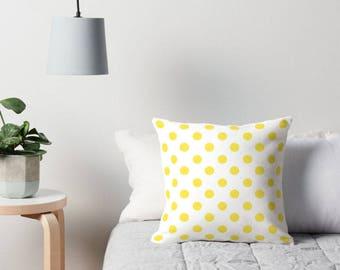 Yellow Pillow Cover, Polka Dot Bedding, Yellow Polka Dot Pillow, Polka Dot Cushion, Polka Dot Pillow, Polka Dot Pillow Cover, Yellow Cushion
