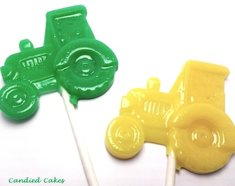 10 TRACTOR LOLLIPOPS - Pick Any Color and Flavor (Solid Hard Candy)
