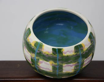 Plaid ceramic bowl, Pencil holder, Oval off-center bowl, ceramic pencil holder, gifts for him, gifts under 20