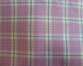 "22"" of Vintage Quilt Cotton Fabric Pink Plaid Design with Purple Stripe"