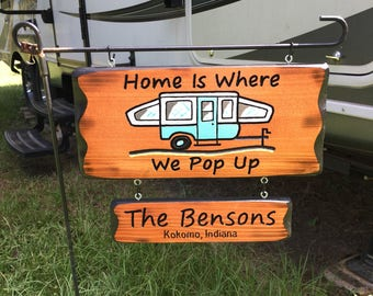 Pop Up Camper Sign with Name Sign #003