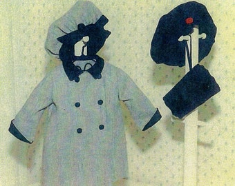 """Doll Pattern / 18"""" Doll / Holiday Dress Coat / Beret /  Muff Patterns for an 18"""" doll by Carol Clements"""
