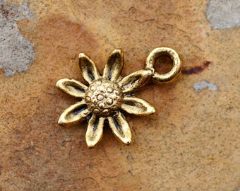 2  Antique Gold Daisy Charms - 13.4 x 11.4  24k Gold Plated Pewter