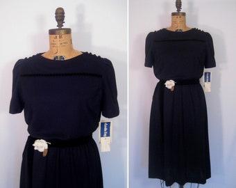 1970s 1980s black velvet trim dress • 70s 80s minimalist party dress • vintage Leslie Fay dress new old stock nos