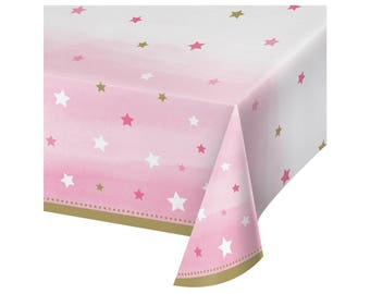 Tablecloth - Twinkle Twinkle Little Star Baby Shower, Twinkle Twinkle Little Star First Birthday, Unicorn Party, Pink and Gold Party Decor