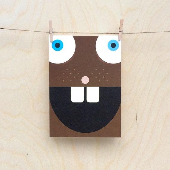 funny beaver card, cute beaver card, child's beaver card, kids beaver card