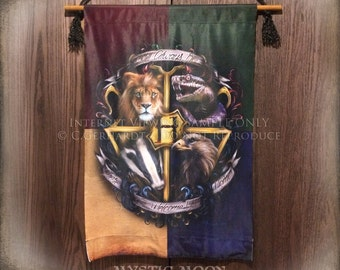 Magic Harry Crest XL Cloth Banner / Potter  Gift  / Slyther / In / Gryffin / Dor / Huffle / Puff