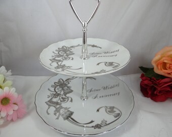1950s Hand Painted 25th Anniversary Silver Wedding Two Tiered Tray