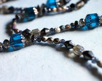 Long Beaded Necklace, Czech Glass Bead Necklace, Blue Grey Gold Gunmetal Beaded Long Necklace, Gunmetal Toggle Clasp, Gift Box