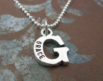 sterling silver single initial necklace - personalize your initial with the name of your choice