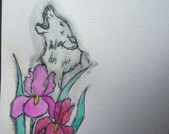 Pink flowers and wolf painting