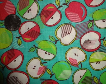 Apples Green Red Blue Farmer's Market Cotton Quilting Fabric BTY by the yard