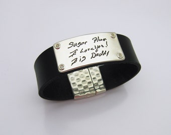 Handwriting Jewelry, Sterling Silver Leather Bracelet, Personalized Signature Keepsake, Gift for Father Dad Brother, Memorial Jewelry