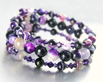 Amethyst Purple Bracelet Multi Strand Purple Beaded Bracelet Purple Wrap Bracelet Memory Wire Purple Gemstone Crystal Bracelet Stone Jewelry