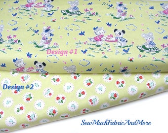 Strawberry Biscuit Fabric~by the 1/2 yd or yard~Retro~Rabbits~kittens~bears~turtles~Penny Rose~cotton-Easter