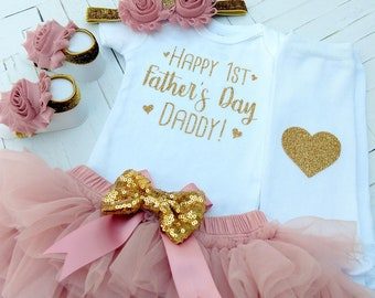 Baby Girl Fathers Day Outfit, 1st Father's Day Baby Girl Outfit, Baby Girl Clothes, Happy 1st Father's Day Daddy, Father's Day Bodysuit