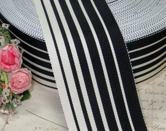 "2"" BLACK WHITE STRIPE ~ Vintage French Ribbon Grosgrain Trim Cocarde Ruffle Trim Wedding Cake Art Deco Ribbonwork Hat Flapper Dress"