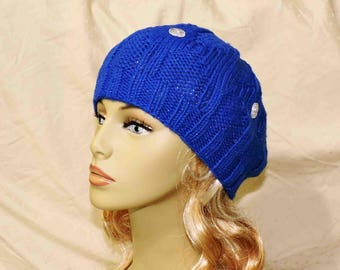 Hand Knit Blue Sparkle Beanie Hat With Vintage Clear Buttons