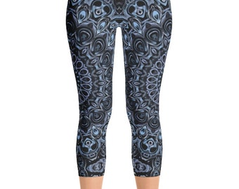 Dark Blue Capris, Printed Leggings, Blue Yoga Pants, Hooping Leggings, Festival Clothing