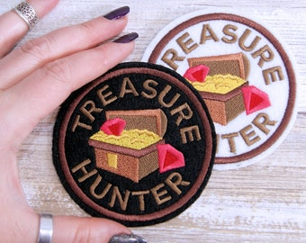 Treasure Hunter-  Round Merit Badge Iron On Embroidery Patch MTCoffinz - Choose Size/ Color