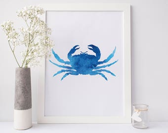 Blue Crab Print, Maryland Blue Crab, Chesapeake Bay Decor Poster, Crab Artwork, Blue Wall Art, Beach Nursery Art, Crab Decor, Bathroom Art