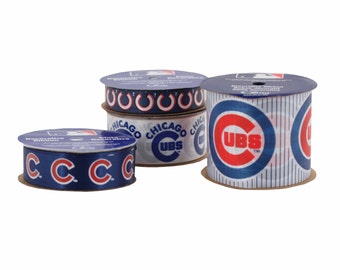 Offray 4-Pack MLB Chicago Cubs Ribbon, Blue/White/Red