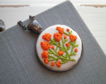 Embroidery Necklace - Orange Hyacinth Embroidered Necklace - Tiny Wildflowers Garden - Floral Fiber Art Boho Holiday Jewelry Gift