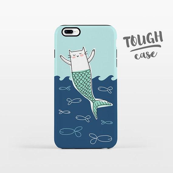 Cat Mermaid Phone Case iPhone 8 Plus Case iPhone X Case iPhone 7 Case iPhone 8 Case iPhone 6 Plus Case 6s 5s 5c 5 4 Aqua Navy Blue TOUGH