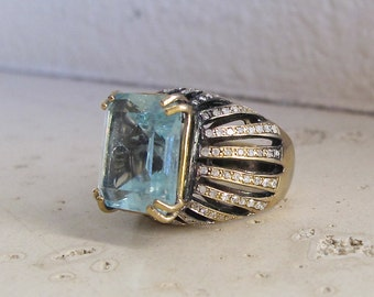 Statement Aquamarine Ring- Emerald Cut Aquamarine Ring- March Birthstone Ring- Unique Engagement Ring- One of A Kind Ring
