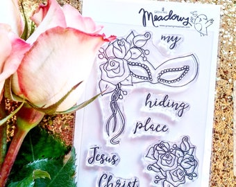 My Hiding Place Mini Stamps Christian Scrapbooking Stamping Bible Journaling Masquerade Mask roses Jesus Christ Growing Meadows Tai Bender