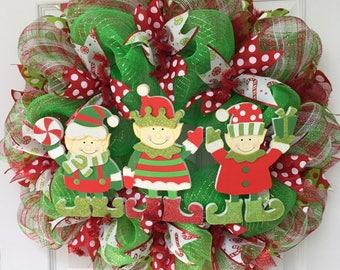 Christmas Deco Mesh Wreath We Are Santas Elves