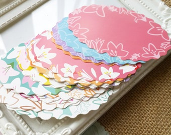 Gift paper cards - 18pcs colorful flowers patterns with hawaiian style  (Pastel color collection)