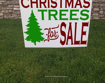 Black Friday Sale Christmas Trees For Sale Yard Sign Christmas Yard sign 24 x 18 Corrugated yard signs Road Sign  Trees for sale Yard Stake