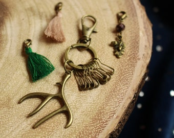 Antler Knit and Crochet Notion Keychain - includes a stylish variety of notions for your crafting needs