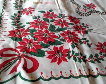 Large 50's Vintage Christmas Tablecloth Made in the USA Poinsettia Candles bows