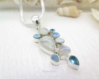 Moonstone Blue Topaz and Opal Sterling Silver Pendant and Chain