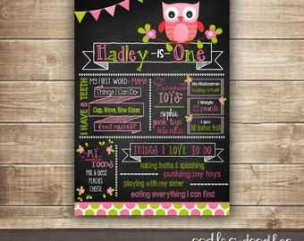 Owl First Birthday Chalkboard Poster, 1st Birthday, Owl Party, Owl Birthday, Milestones, Pink and Lime Green, Printable or Printed