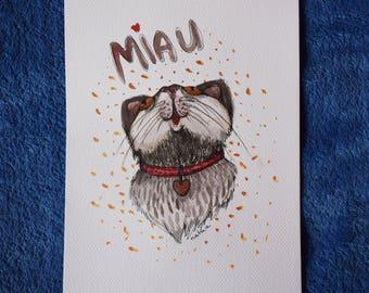 Cat original art illustration, meow, for cat lover, kitty, heart, watercolors, housewarming gift, animal art